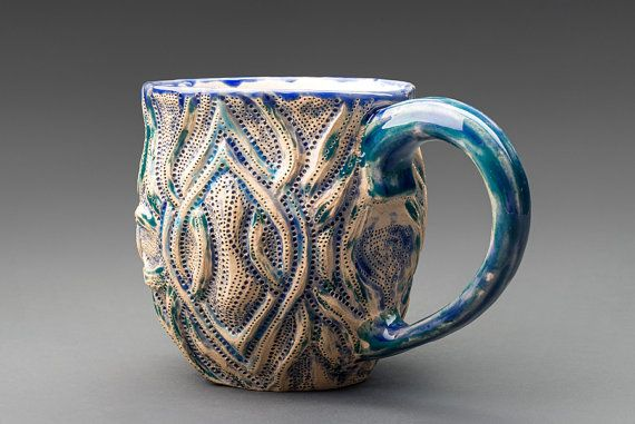 Medium size rustic teacup in blue and teal with celtic by Landby, $50.00