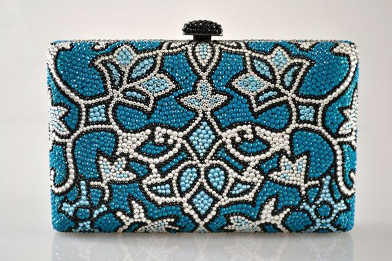 Case cas rectangle Swarovski Elements motifs Minaudière Blue Silver Cristal Métal sac à main d'embrayage