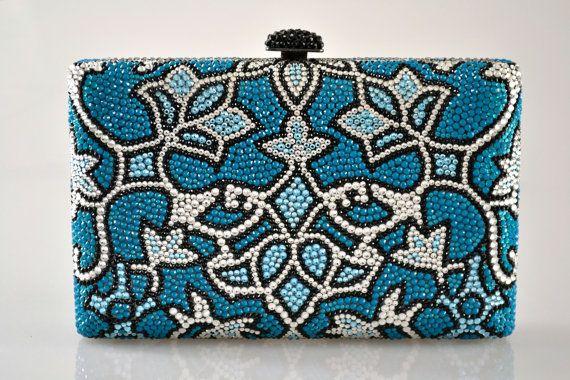 Case cas rectangle Swarovski Elements motifs Minaudière Blue Silver Cristal Métal sac à main d'embrayage
