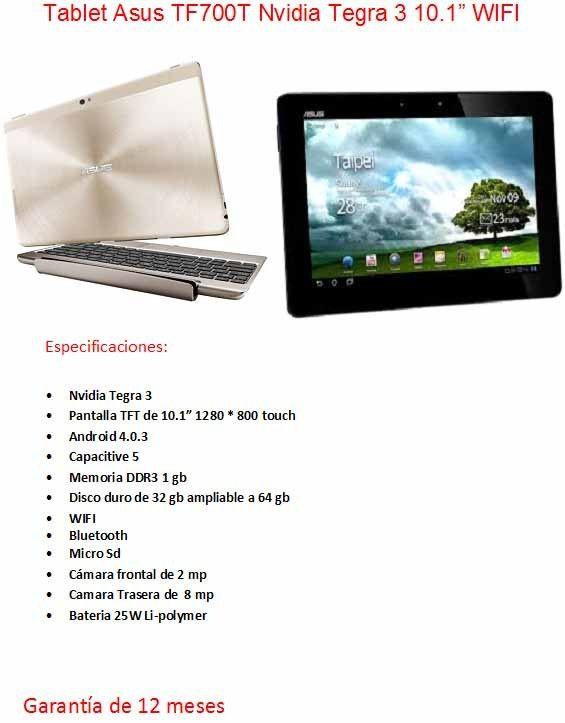 "TABLET Asus TF700T Nvidia Tegra 3 1gb 32GB WIFI 10"" #tecnokefren"