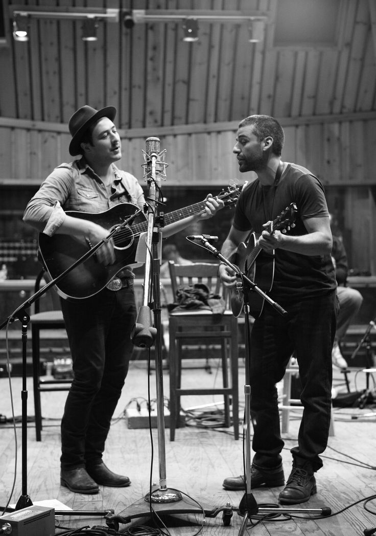 Oscar Isaac and Marcus Mumford. Photograph by Brigitte Lacombe.