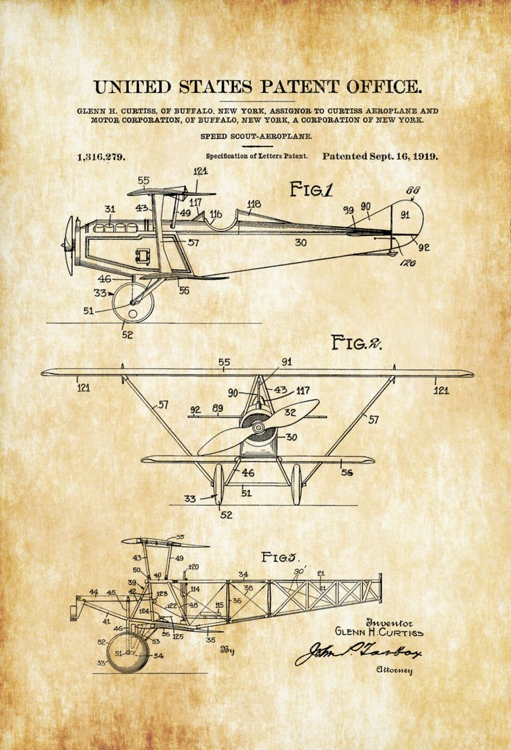 A patent print poster of a 1919 Speed Scout Aeroplane invented by the legendary aircraft designer Glenn Curtiss. The patent was issued by the United States Patent Office on September 16, 1919. Glenn Curtiss was an American aviation pioneer and one of the founders of the U.S. aircraft industry. He began his career as ...
