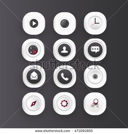 Icon set with white color can be used on mobile phone.