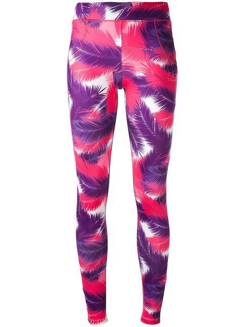 Shop Ea7 Emporio Armani Palm print leggings .