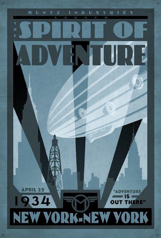 Filmposter van Pixars Up in Art Deco stijl.