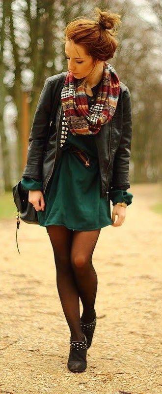 #fall #fashion / green dress + leather