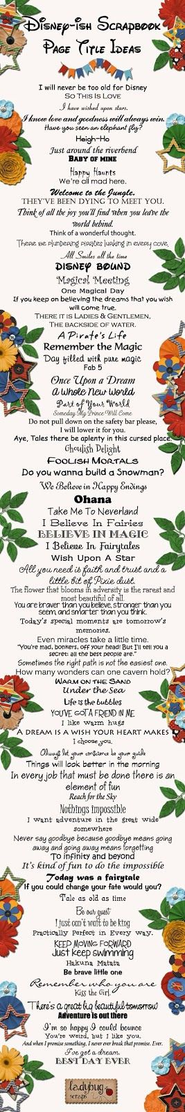 Great list of Disney page titles
