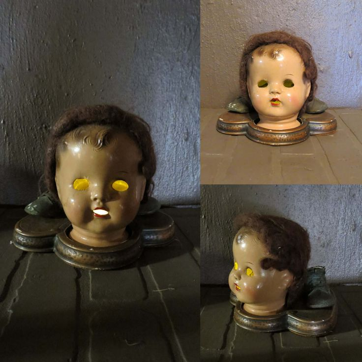 Creepy Doll Head Light Up Halloween Decoration, Battery Operated Upcycled Doll  Head, Bronze Baby Shoes, Disfigured Doll OOAK Halloween House