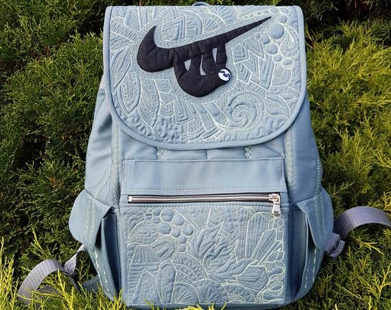 Cool backpacks for teenage guys Backpacks for teens Unusual Gifts for boyfriend College backpacks Sloth bag Gray Quilted backpack