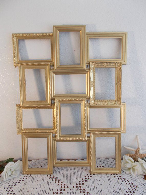 2780963849f Gold Wedding Seating Chart Collage Frame Ornate Spring Summer Fall ...