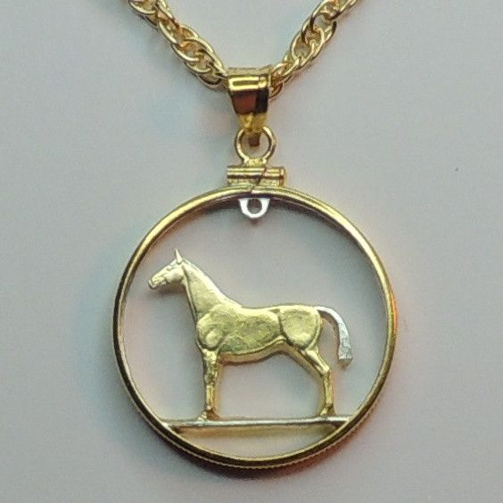 2 Toned Gold on Silver Irish 20 Pence (Horse) Bezel and Necklace