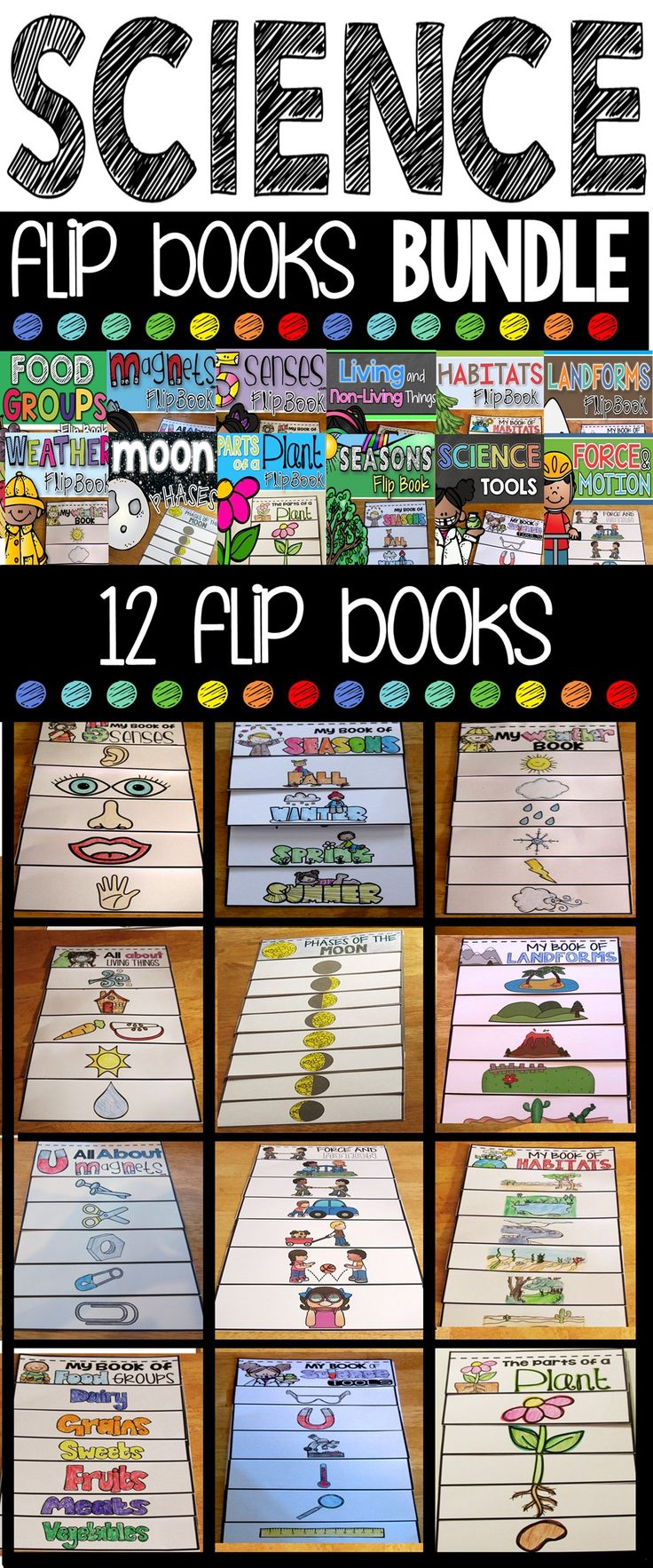 Science Flip Books. The science flip books growing bundle contains 13 interactive science flip books.  Each flip book contains multiple versions for the differentiated classroom!  Topics included are: Seasons, Weather,Food Groups,  5 Senses, Science Tools, Magnets, Parts of a Plant, Force & Motion, Landforms, Moon Phases, Living & Non-Living Things, Day&Night, and Habitats.