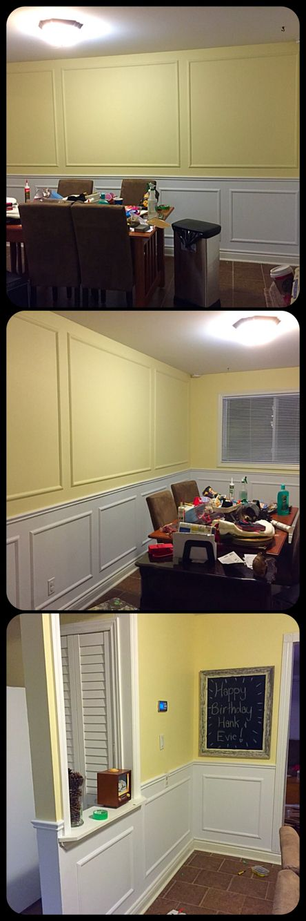 DIY wainscoting above and below chair rail. Paint Colour: First Light - CIL $20.00