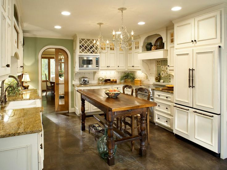 contemporary+french+country+kitchen+designs   french country kitchen with white cabinets and chandeliers this ...