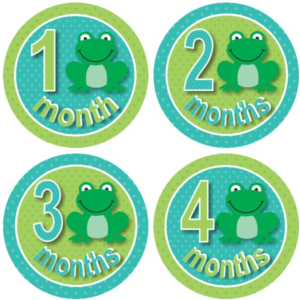 Monthly Onesie Baby Stickers Boy Circles Frog Frogs Blue Green Dots - Age 1-12 Months - Fast Ship - Photo Prop - Baby Shower Gift. $8.99, via Etsy.