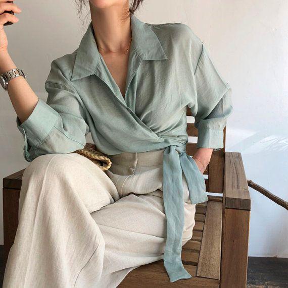 2Colors Long sleeve wrap blouse / crop wrap tops / artist tunic / romantic crop top / Button down loose blouse / Modern chic blouse