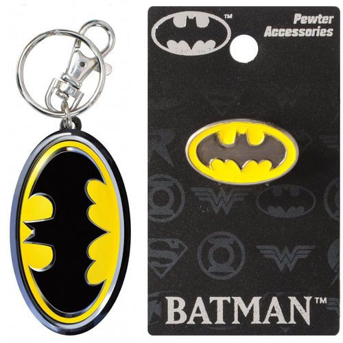 Bundle 2 Items: One (1) Batman Pewter Color Keychain and One (1) Pewter Lapel Pin