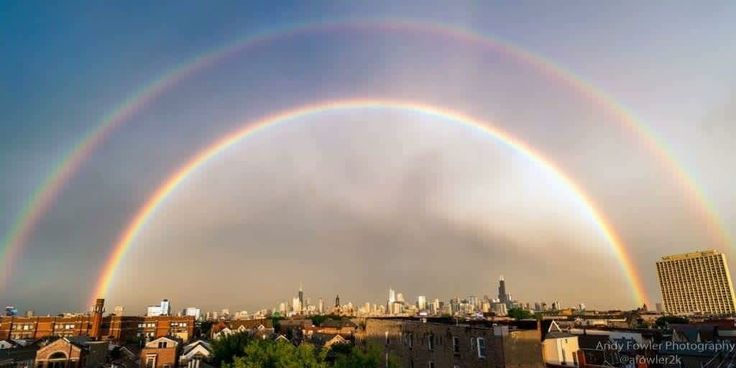 Chicago storm leaves city with a double rainbow