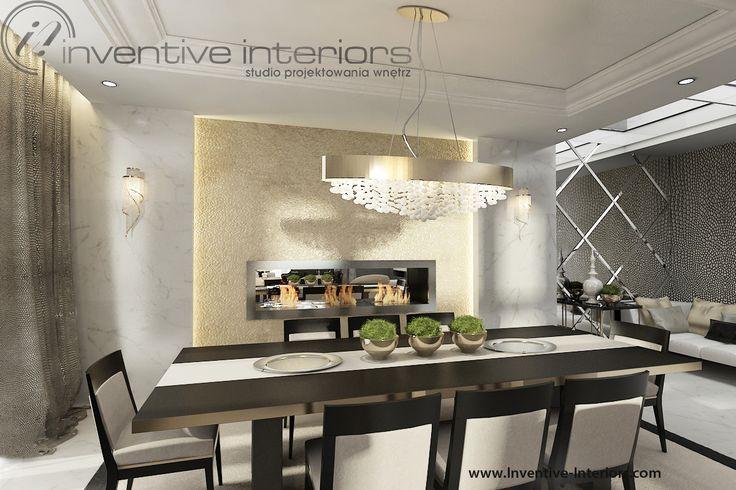 Projekt apartamentu 60m2 Inventive Interiors - jadalnia ze złotą ścianą