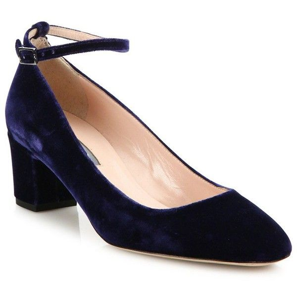 SJP by Sarah Jessica Parker Ingenue Velvet Ankle-Strap Block-Heel... (€340) ❤ liked on Polyvore featuring shoes, pumps, apparel & accessories, navy, navy blue ankle strap shoes, navy blue pumps, block heel shoes, block heel pumps and ankle wrap shoes