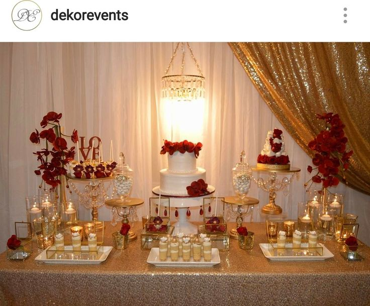 Gold, white, and Red Engagement Party Dessert Table and ...