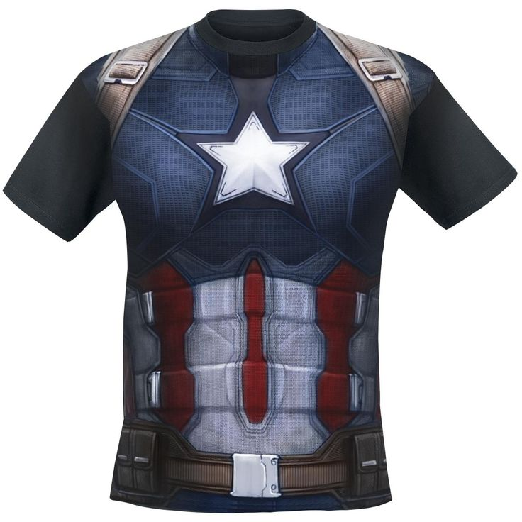 "Classica T-Shirt uomo nera ""Captain America Costume"" di #CaptainAmerica Civil War."