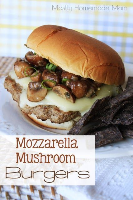 Grilled burger with mozzarella cheese and mushrooms. Tip: Adding lettuce leaves and sliced tomato would be a plus!!