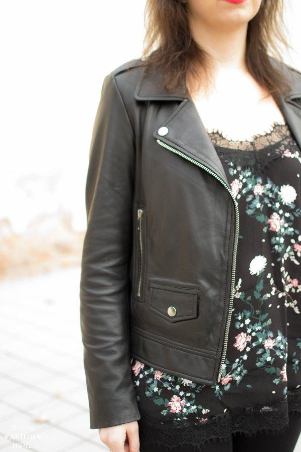 Fashiontrend: Flowers rock in winter!   Lederjacke im Bikerstil|Only Blumenshirt|Closed Jeans|Peek&cloppenburg