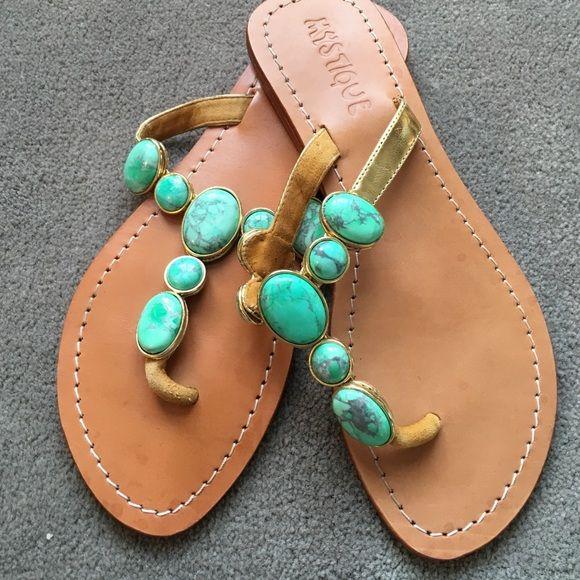 Turquoise Mystique sandals. Love the gold and turquoise embellishment on these Mystique sandals. In excellent condition! Mystique Shoes Sandals