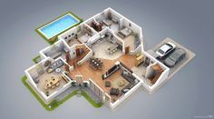 3D Architectural Visualization, 3D Floor Plan of a modern villa.