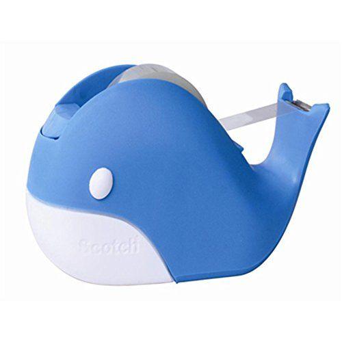 Blue Whale Scotch Tape Dispenser Tape Cutting Home Décor Desk Décor + 4 Rolls Scotch Tapes 3/4 inch