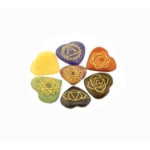 Set 7 Chakra symbolen mineraalstenen - hartvorm
