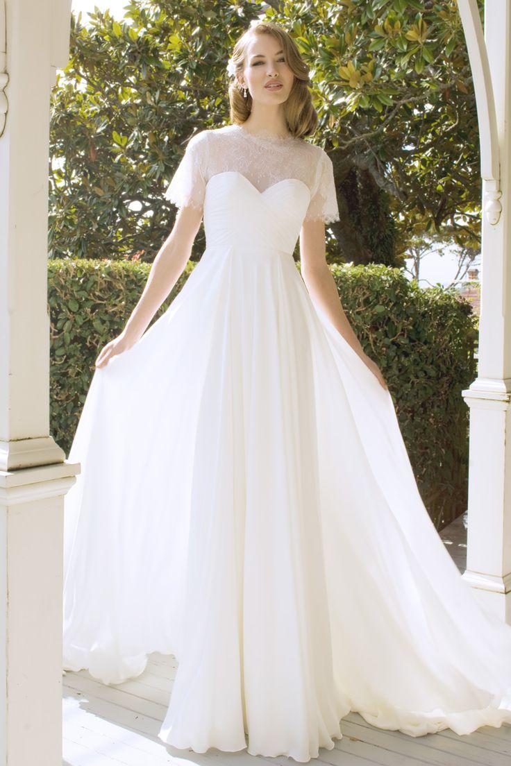 Jessica - lace, sleeves, sweet-heart, pleats, high-waist, flowing skirt