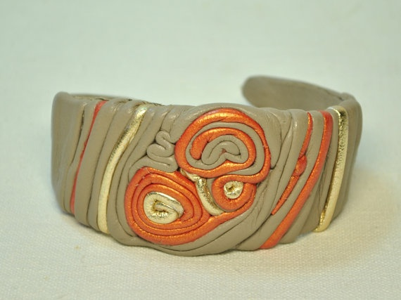 Leather bracelet  Orange leather cuff  stylish autumn by EthnoBird, $25.00