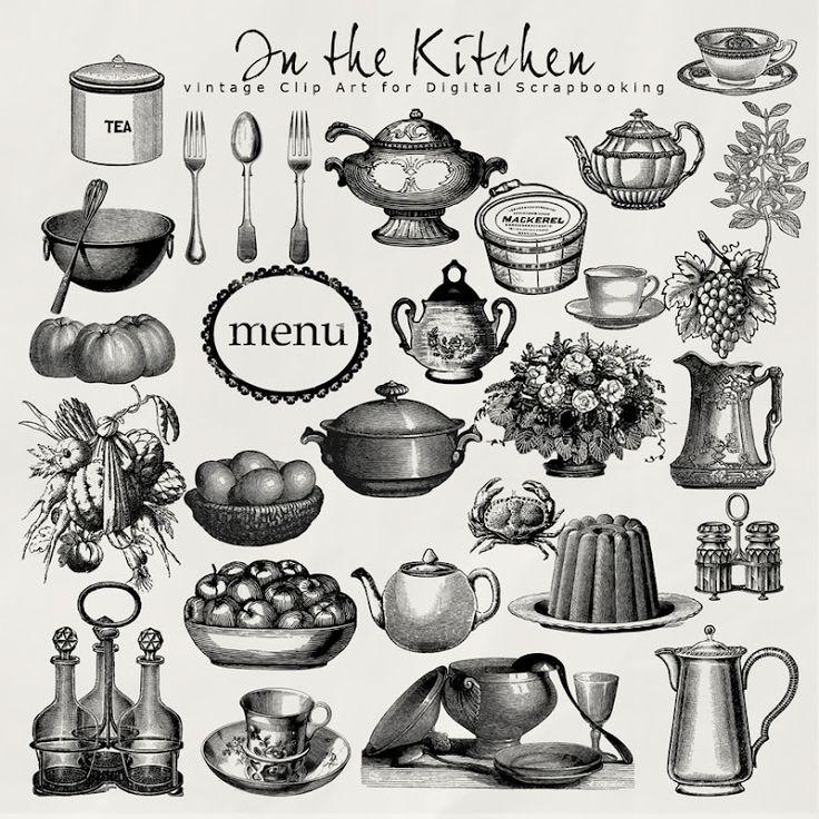 Retro Kitchen Illustration: Vintage Kitchen Clip Art Free