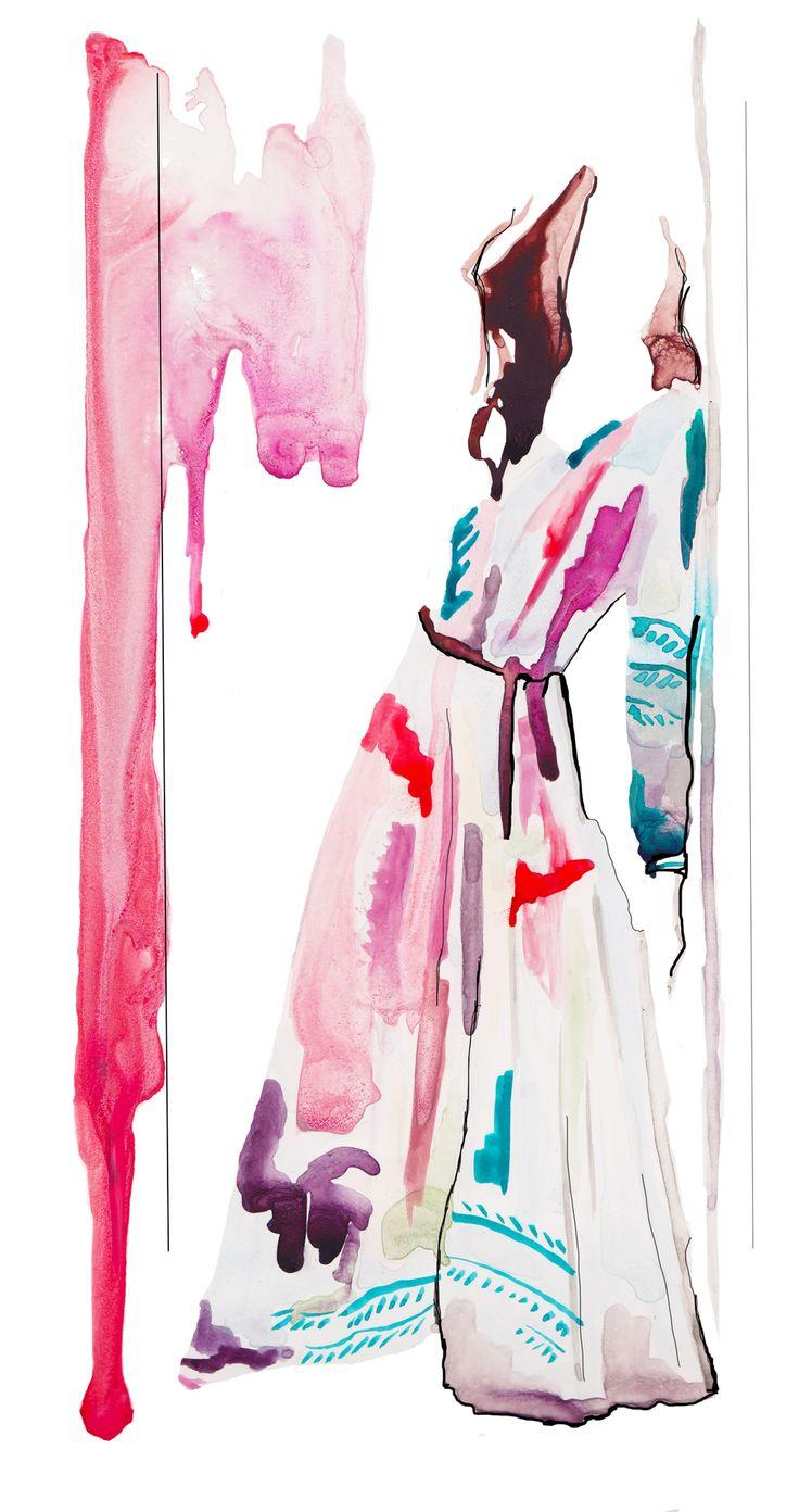 Burberry Fall 2014 Fashion Illustration by Stephanie Anne