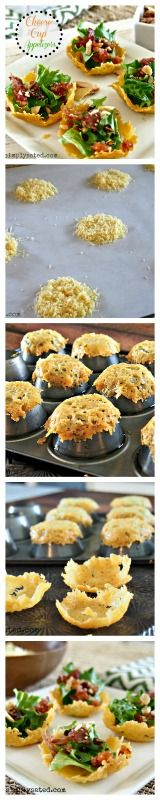 Cheese Cup Appetizers - the perfect package for filling with your favorite ingredients. Delicious and beautiful. www.simplysated.com