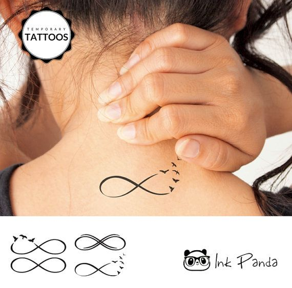 Show how infinite and free your mind. Birds fly away from an infinity symbol in a very cute tattoo. Medium size (2x3, roughly 5cmx7.5cm) set of realistic black and white temporary tattoos, with each tattoo roughly 1.5 wide and 0.75 tall (about 4cm wide and 2cm tall), for you to place where you please!  Great on your neck, arm, leg, or lower back. Understated and beautiful. Our tattoos are designed by an international team of designers. This one is designed by Isabelle.  Temporary tattoos are…