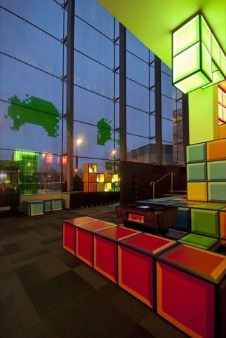 Games Lounge - National Media Museum in Bradford. Tetris style decor, awesome retro interior design.