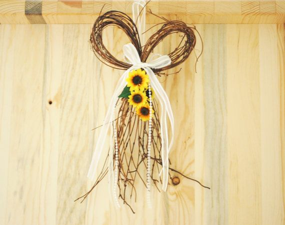 Sunflower Door Wreath in a Heart by An Old Soul Creations
