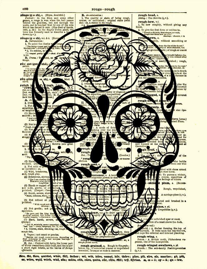 Sugar Skull Art Rose Sugar Skull Dictionary by reimaginationprints, $10.00