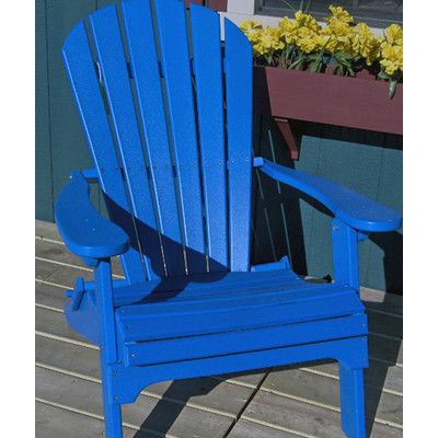Buyers Choice Phat Tommy Folding Recycled Poly Adirondack Chair Finish: Marina Blue