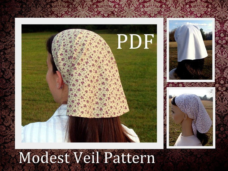 Modest Prayer Veil Pattern Long Veil Head covering Head scarf Tutorial Headcovering Sewing PDF Tutorial Headscarf Bandana DIY Headwrap