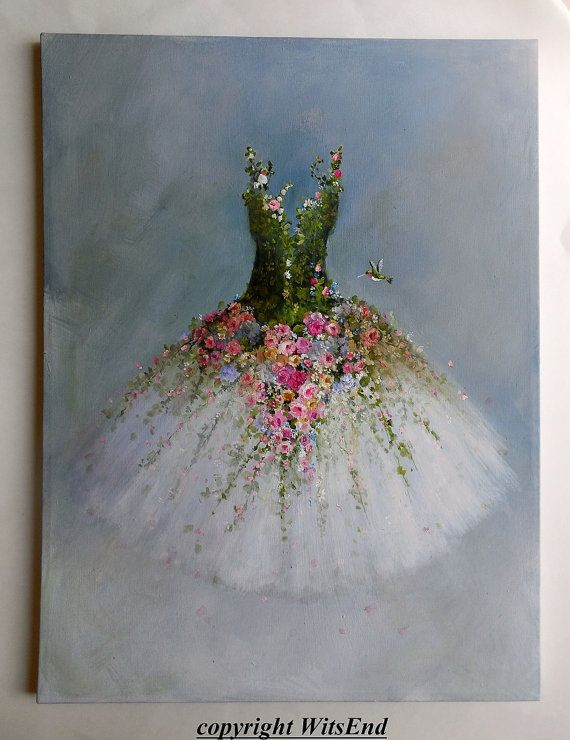Roses Tutu painting 'THE GARDEN DANCE'. RESERVED for Hilda original ooak by 4WitsEnd, via Etsy