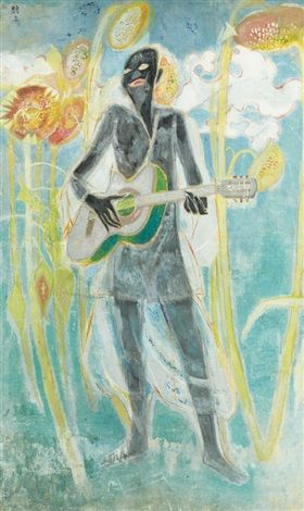 (Korea) The poet with guitar,1969 by Chun Kyung-ja (1924-2015). Korea.