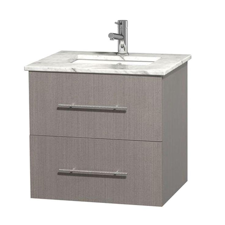 Pictures In Gallery Wyndham Collection Centra in Vanity in Gray Oak with Marble Vanity Top in Carrara White and Under Mount Sink