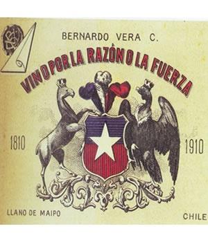 VINO POR LA RAZON O LA FUERZA    Marca registrada en Santiago por Bernardo Vera Calvo comerciante de vinos y licores, 1910.
