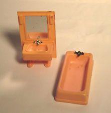 vintage Arco miniature doll furniture bathtub & sink w/ mirror pink Hong Kong