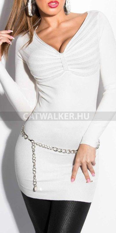 Női pulóver, mellénél összefogott, fehér