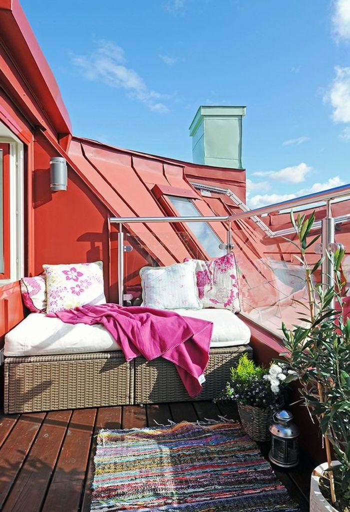 terrassengestaltung ideen kleine dachterrasse teppich hausgemacht - 28 ideen fur terrassengestaltung dach